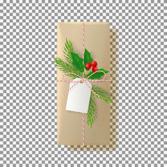 Paper gift box isolated on transparent backdrop. Vector illustration. Top view on Xmas gift with fir tree branch and holly. Template for greeting card on Christmas or New Year.