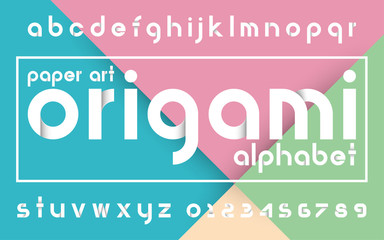 Decorative origami alphabet vector fonts and numbers.Typography design for headlines, labels, posters, logos, cover, etc.