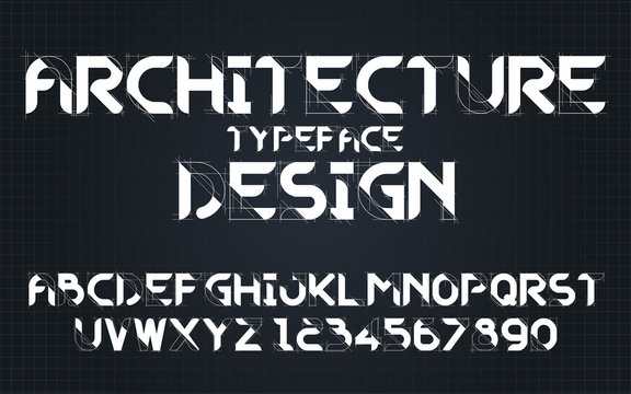 Decorative architecture alphabet vector fonts and numbers.Typography design for headlines, labels, posters, logos, cover, etc.
