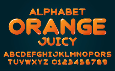 Decorative orange alphabet vector fonts and numbers.Typography design for headlines, labels, posters, logos, cover, etc.