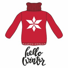 Hello winter. Vector illustration with a red pullover for design and print
