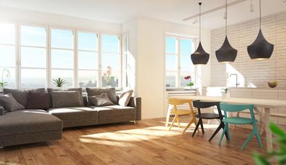 Cucina e soggiorno moderni, con parquet, stanza luminosa