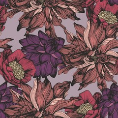 Vector seamless pattern with complex detailed colors. Hand drawing