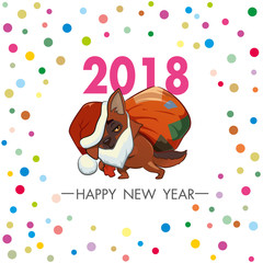 dog dressed in a Santa suit. square greeting card with the symbol of 2018