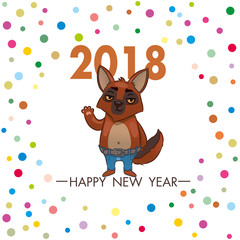 dog welcomes. square greeting card with the symbol of 2018. vector