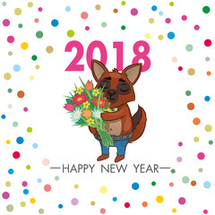 cartoon dog holding flowers. square greeting card with the symbol of 2018. vector
