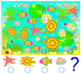 Educational page for young children. Need to count how many sea inhabitants are in the picture and write corresponding numbers in the circles. Vector cartoon image.