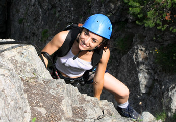 Foto op Plexiglas Alpinisme Marga just passed the precipice