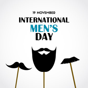 International men's day vector greeting card with photo booth props