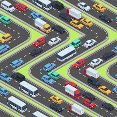 Urban cars seamless texture. Isometric roads and car traffic