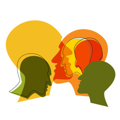 Schizophrenia concept, symbol of depresion, dementia. Vector ilustration.