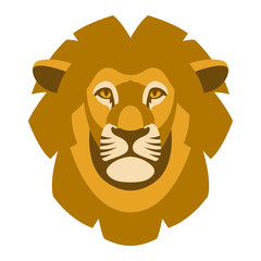 lion face head vector illustration style flat front