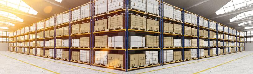 Panorama von Lagerhalle mit vielen Kisten