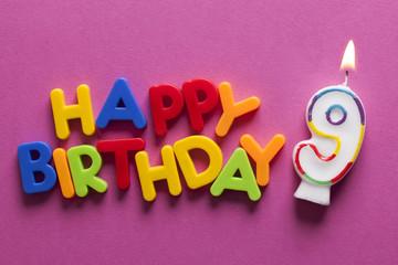 Number 9 happy birthday celebration candle