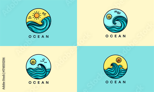 set of ocean logo badge vector ocean waves logo template stock