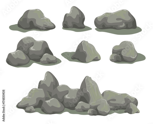 2c86f87bf3e0cf Set of rock stones different shapes and sized. Collection of gray boulders  isolated on white background. Stock vector illustration.