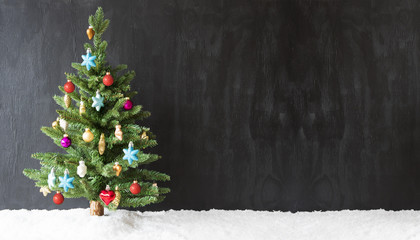 Colorful Christmas Tree, Snow, Copy Space For Advertisement