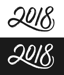 Happy New Year 2018 greeting card template. Hand drawn calligraphic number 2018 with rough contour on black and white backgrounds for Chinese Year of the Dog. Vector illustration.