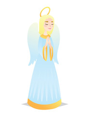 Angelic girl. Cute young woman in style of Angel with wings praying. Vector.