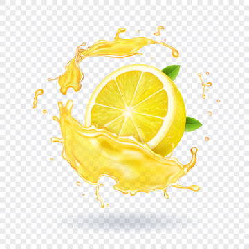Lemon fruit juice splash realistic