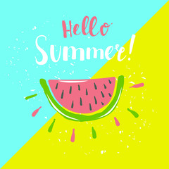 Summer poster with watermelon and hand-lettering quote.