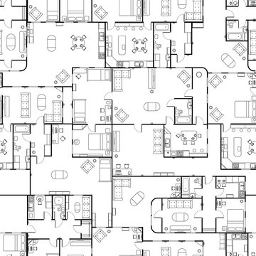 Black and white house floor plan with interior details, seamless pattern