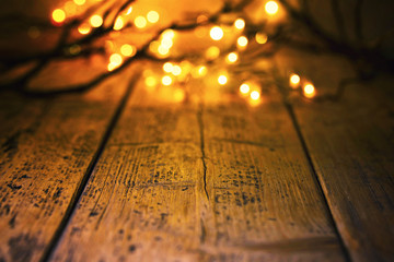 Halloween bokeh background with empty wooden table