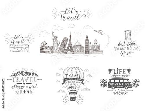 world travel sights and transport set of tourism. Black Bedroom Furniture Sets. Home Design Ideas