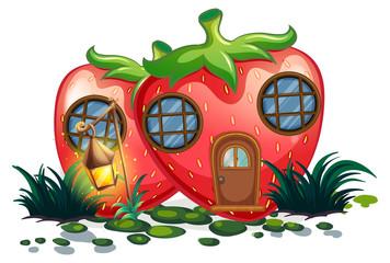 Strawberry house with lantern in garden