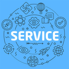 Service Blue Lines Illustration for prsentation