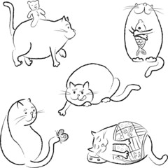 Set with five fat cats in vector, black outline