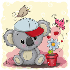 Cute cartoon Koala with flower