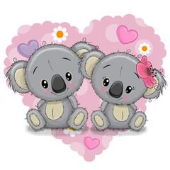 Two Cartoon Koalas on a background of heart