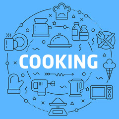 Cooking Blue Lines Illustration for prsentation