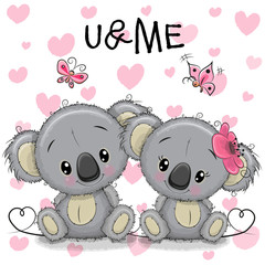 Two Koalas on a hearts background