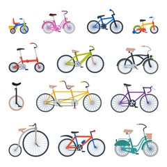 Retro bike vintage style old vector transport ride vehicle summer bicycles transportation illustration