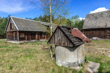Abandoned farm buildings in forest complex called Kampinos near Warsaw, Poland