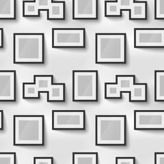 Different proportions black blank picture frames on wall, seamless pattern