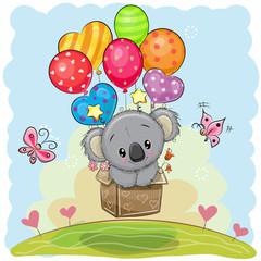 Cute Cartoon Koala with balloons