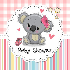 Baby Shower Greeting Card with Cartoon Koala girl