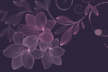 Abstract  hand drawn floral pattern with lily flowers. Vector illustration. Element for design.
