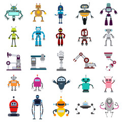 robot and robotics flat icon set