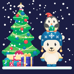 Decorated christmas tree and gifts. Cute polar bear and little funny penguin Vector colorful illustration in flat style