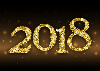 Happy New Year 2018 with numbers from golden glitter with sparkles on black background with fireflies. Vector illustration