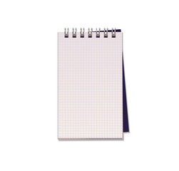 Realistic vector illustration of blank notebook with  square  paper from a block isolated on a white background with shadows