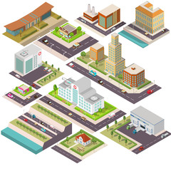Isometric set of buildings. Hospital with helicopter. Cafe, coffee house, a private country house,skyscraper, a trucks Warehouse, factory, the plant,  highway with cars.Suburban  home, town house