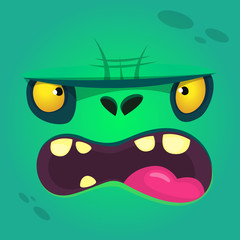 Cartoon angry zombie face. Vector zombie monster square avatar