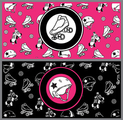 Set of flyers on the theme of roller derby and roller skating