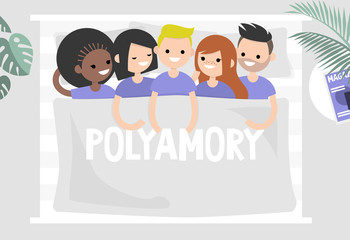 Polyamory conceptual illustration. A group of young people lying in a huge bed / flat editable vector illustration, clip art