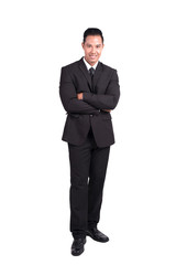 business, people and office concept - happy smiling Asian businessman - isolated over a white background